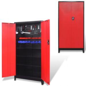 Pood24i kahe uksega tööriistakapp terasest 90 x 40 x 180 cm, must ja punane