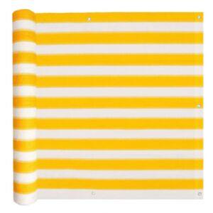 Pood24 rõdusirm HDPE, 75 x 600 cm, kollane ja valge