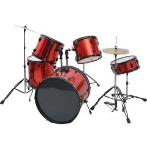 Pood24i trummikomplekt pulbervärvitud terasest, punane, täiskasvanutele