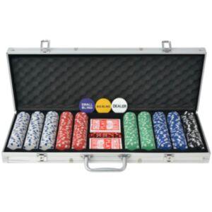 Pood24i 500 žetooniga pokkerikomplekt alumiiniumkohvris
