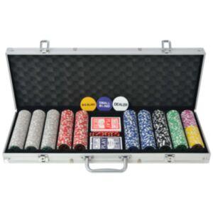 Pood24 500 žetooniga pokkerikomplekt alumiiniumkohvris