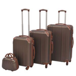 Pood24i neljaosaline kõvakattega kohvrite komplekt kohvipruun