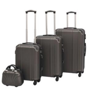 Pood24i neljaosaline kõvakattega kohvrite komplekt antratsiithall