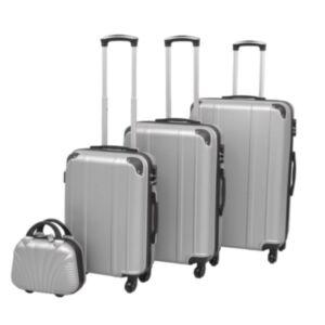 Pood24i neljaosaline kõvakattega kohvrite komplekt hõbedane