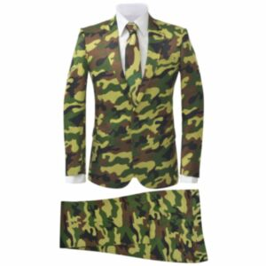 Pood24i kaheosaline meeste ülikond lipsuga, kaitsevärvi, suurus 46