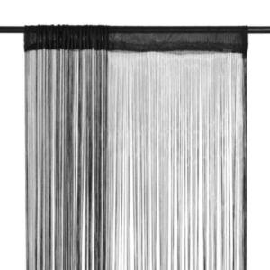 Pood24 nöörkardinad 2 tk, 100 x 250 cm, must