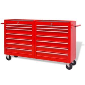 Pood24i töökoja tööriistakäru 14 sahtliga XXL, terasest, punane