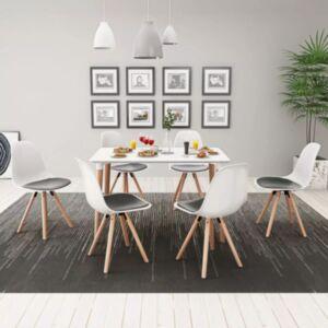 Pood24i seitsmeosaline söögilaua ja toolide komplekt valge ja must