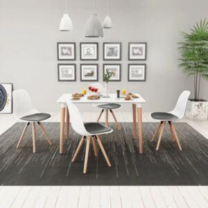 Pood24i viieosaline söögilaua ja toolide komplekt valge ja must