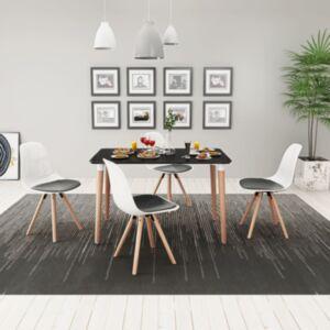 Pood24i viieosaline söögilaua ja toolide komplekt must ja valge