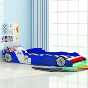 Pood24 võidusõiduauto kujuga lastevoodi 90 x 200 cm sinine