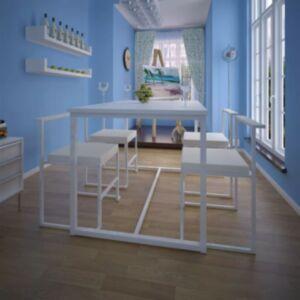 Pood24i viieosaline söögilaua ja toolide komplekt valge