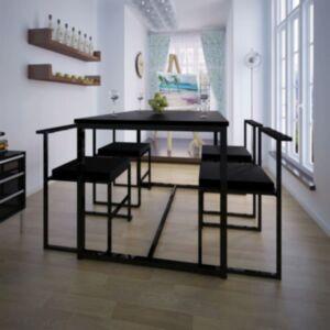 Pood24i viieosaline söögilaua ja toolide komplekt must