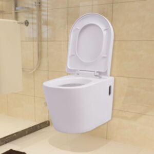 Pood24i seinale kinnitatav valge keraamiline tualettpott