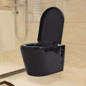 Pood24i seinale kinnitatav must keraamiline tualettpott