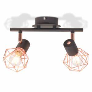 Pood24 laelamp 2 punktvalgustiga E14, must ja vaskne