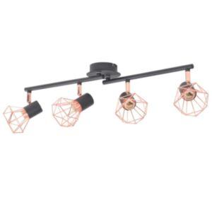 Pood24 laelamp 4 punktvalgustiga E14, must ja vaskne