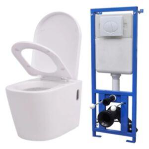 Pood24i seinale kinnituv peidetud loputuskastiga valge WC-pott