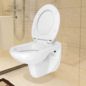 Pood24 seinale kinnituv WC-pott, pehmelt sulguv, keraamiline, valge
