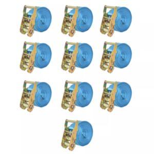 Pood24 pingutitega koormarihmad 10 tk 2 tonni 6 m x 38 mm, sinine