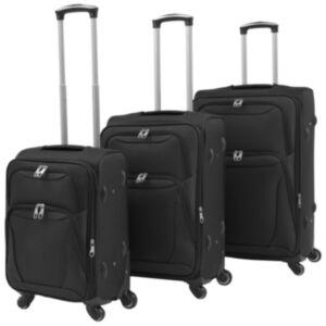 Pood24 kolmeosaline pehme kattega kohvrite komplekt, must