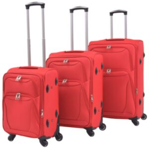 Pood24 kolmeosaline pehme kattega kohvrite komplekt, punane