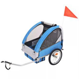 Pood24 laste jalgrattahaagis hall ja sinine, 30 kg