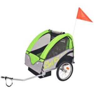 Pood24 laste jalgrattahaagis hall ja roheline, 30 kg
