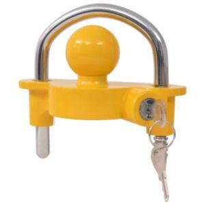 Pood24 järelhaagise lukk 2 võtmega, teras ja alumiiniumisulam, kollane