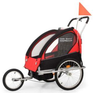 Pood24 kaks ühes laste ratta järelkäru ja jalutuskäru, must ja punane