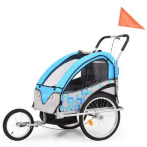 Pood24 kaks ühes laste ratta järelkäru ja jalutuskäru, sinine ja hall