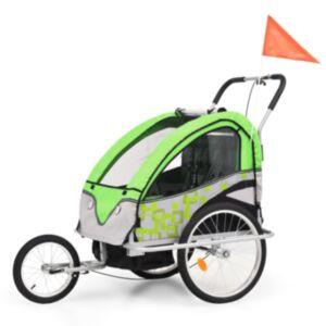 Pood24 kaks ühes laste ratta järelkäru ja jalutuskäru, roheline ja hall