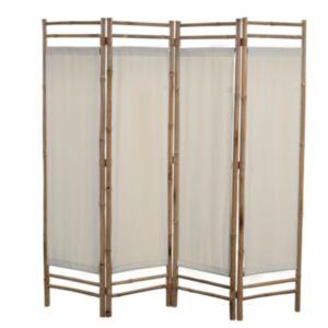 Pood24 kokkupandav 4 paneeliga vahesein, bambus ja lõuend, 160 cm