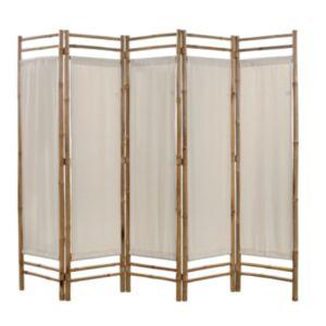 Pood24 kokkupandav 5 paneeliga vahesein, bambus ja lõuend, 200 cm