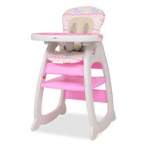 Pood24 kolm-ühes söötmistool koos lauaga, roosa