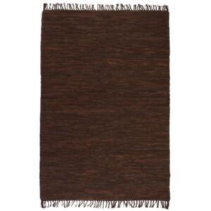 Pood24 käsitsi kootud kaltsuvaip, nahk 80 x 160 cm, pruun