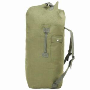 Pood24 armeestiilis riidest reisikott 85 l, oliivroheline