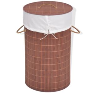 Pood24 bambusest ümmargune pesukorv, pruun