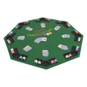 Pood24 volditav pokkeri lauaplaat 2 mängijale, kaheksanurkne, roheline