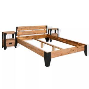 Pood24 kahe öökapiga akaatsiapuidust voodiraam, terasest, 140 x 200 cm
