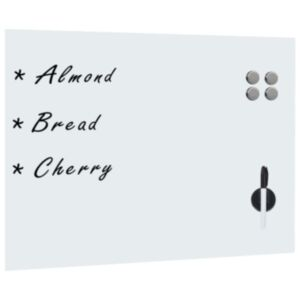 Pood24 seinakinnitusega valge magnettahvel, klaas 80 x 60 cm