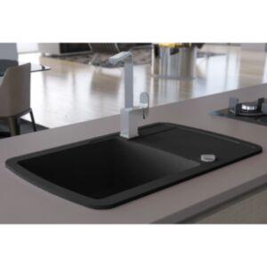 Pood24 ühepoolne köögivalamu, graniit, must