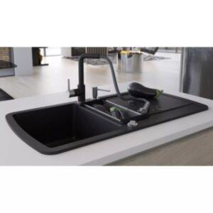 Pood24 kahepoolne köögivalamu, graniit, must