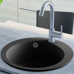 Pood24 ühepoolne köögivalamu, graniit, ümar, must