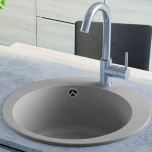 Pood24 ühepoolne köögivalamu, graniit, ümmargune, hall