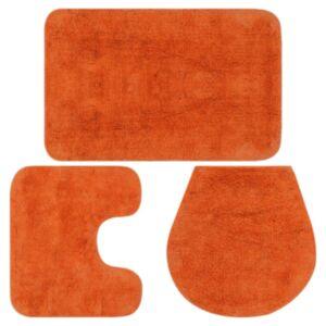 Pood24 3-osaline vannitoamattide komplekt, kangas, oranž