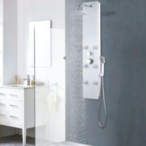 Pood24 dušipaneeeli süsteem, klaas, 25 x 44,6 x 130 cm, valge