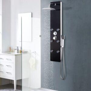 Pood24 dušipaneeeli süsteem, klaas, 25 x 44,6 x 130 cm, must