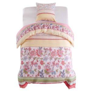 Pood24 voodipesu, 2 osa lilled/triibud 140 x 220/60 x 70 cm roosa