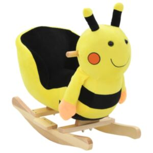 Pood24 kiikhobu seljatoega, mesilane, plüüs, 60 x 32 x 57 cm kollane